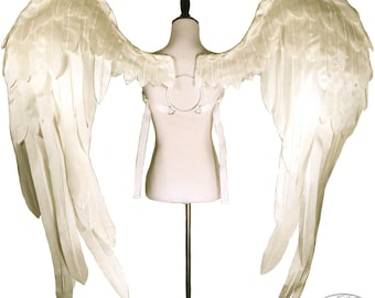 Oversize White Satin Angel Wings - Strapless Convertable