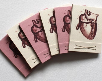 Anatomical Heart Matchbook Jotter Notebook for Valentine's Day