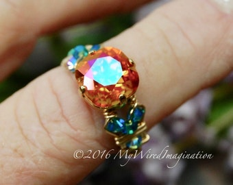 Firey Astral Pink, Swarovski Crystal, Hand Crafted Wire Wrapped Ring, Astral Pink & Blue Zircon AB, Fine Jewelry Made to Order, Orange Pink