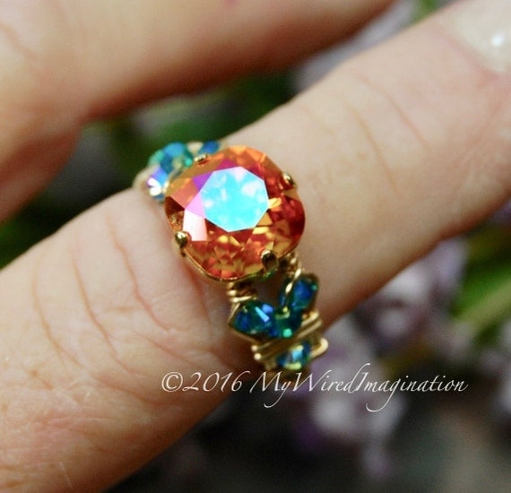 Firey Astral Pink, Swarovski Crystal, Hand Crafted Wire Wrapped Ring, Astral Pink & Blue Zircon AB, Fine Jewelry Made to Order,