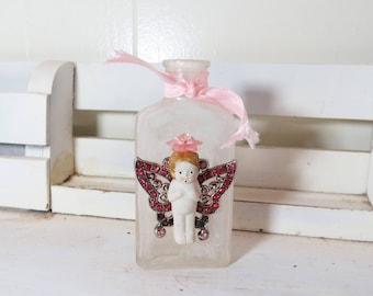 """Fairy Wish Bottle- Altered Bottle- Fairy Princess- Old Bottle, Penny Doll, Butterfly wings 4 1/4"""" Bottle"""