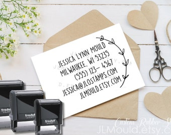 0389 SelfInking JLMould Custom DIY Business Card Rubber Stamp with your Information on it Personalized Wedding Photography Business