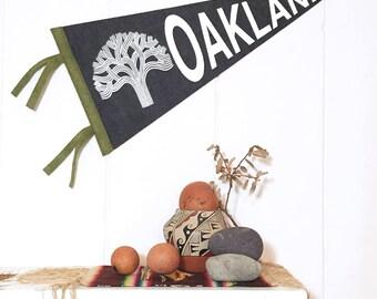 Oakland Pennant Silkscreen on Charcoal Wool Felt