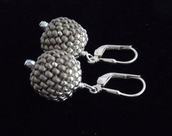 Beaded Bead Earrings, Silver Beaded Earrings, Metallic Seed Bead Earrings, Drop Earrings, Beaded Bead Earrings, Peyote Earrings