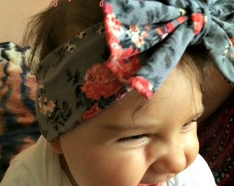Baby Girl Big Messy Bow Headband Gray Top Knot Headband. Baby Stretch Cotton Floral Headband InfantToddler Girl Turban. Girls Headband.bow