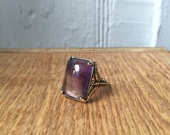 Amethyst and Rose Quartz in Bronze- Dragonfly Ring
