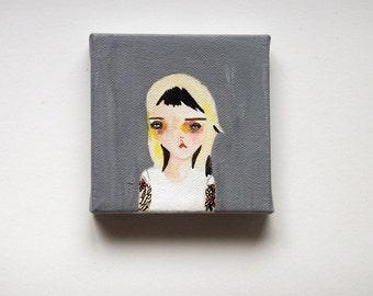 original painting, girl painting, original girl painting, girl art, woman painting, woman art, neverending sadness