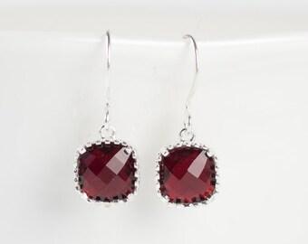 Garnet Silver Earrings, January Birthstone Silver Earrings, January Garnet Square Earrings, Birthstone Jewelry, Bridesmaid Earrings