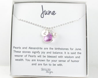 Personalized June Birthstone Silver Necklace, Light Amethyst Necklace, June Birthday Jewelry, Personalized Silver Necklace #869