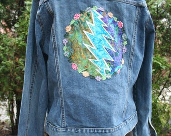Steal Your Face Grateful Dead jean jacket patch Gap Stretch denim XL coat Deadstock