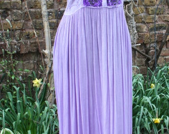 Purple and lavender India embroidered velvet front dress cotton tie back hippie boho festival