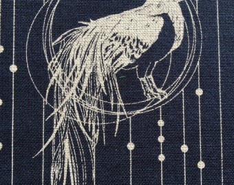 Year of the Rooster navy indigo blue cotton fabric