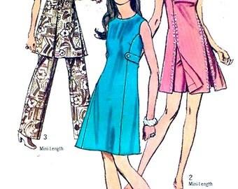 70s Mod dress pants shorts retro mod sewing pattern Spring summer Bridesmaid Simplicity 8788 Medium Bust 36