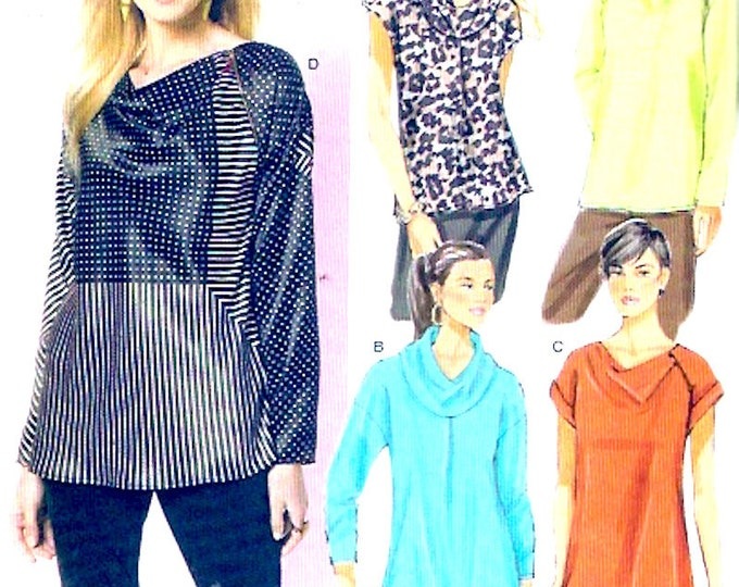 Loose pullover tops Womens Spring Summer Fall Casual style fashion sewing pattern Butterick 5816 Size Xsm to Medium UNCUT