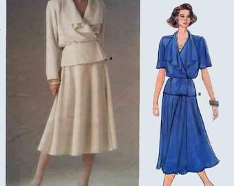 Vintage John Anthony Wrap Blouse w/ Draped Colar & Skirt Sewing Pattern Vogue American Designer 1577 1980s Sewing Pattern Size 14 Bust 36