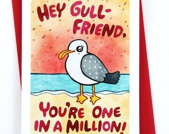 Hey Gullfriend -galentines day card funny valentine card girlfriend card friend valentine puns anti valentine day card friendship card