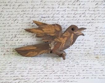 Little Vintage Wooden Carved Bird