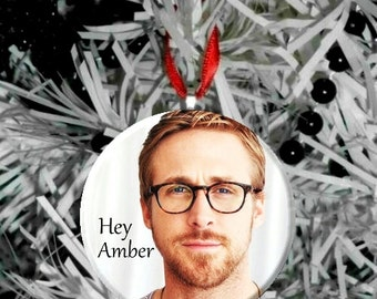 Personalized Ryan Gosling Hey (Name) - Ornament -glasses