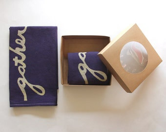 Gather Dinner Napkins - Hand Printed Cloth Napkins - Eggplant and Gold