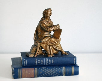 Renaissance Man Statue, Antique Sitting Man Figurine, Gilded Spelter, Antique Bookend, Book Library Decor, Cast Metal Clock Topper Scholar