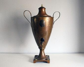 Copper Tea Urn, Victorian Samovar, Antique Hot Water Pot, Water Heater, Metalware Urn, Brass Spigot, Hand Wrought Copper, Tea Maker Kettle