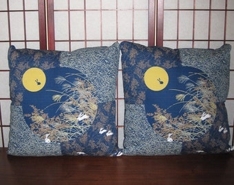 Accent Pillow Zippered Covers Set of 2 Japanese Rabbits , Moon & Autumn Grasses Design 20 inch Blue