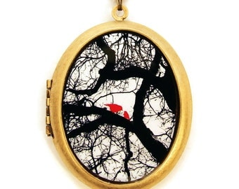 Motherly Love - Mother And Child Birds on Tree Photo Locket Necklace