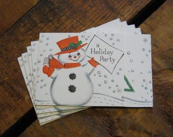 Vintage Snowman Holiday Party Invitations - Set of 16 - Vintage Christmas Invitations, Vintage Holiday Invitations, Christmas Cards