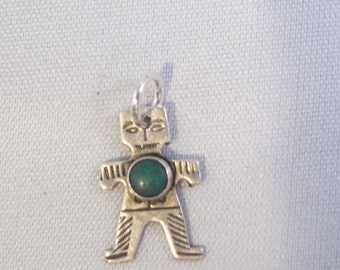 Vintage Native American Southwestern Sterling Silver and Turquoise Figural Charm or Pendant    1057