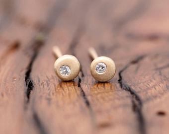 gold pebble earrings with diamond, Petite diamond studs,  gold nugget post earring, Rachel Wilder Handmade Jewelry