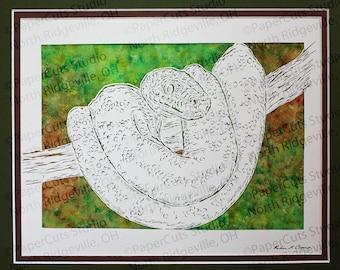 Emerald Tree Boa Papercutting- Handcut Original