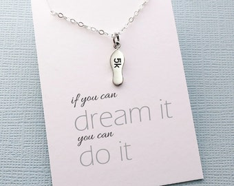 Gift for Runner | 5k | Marathon Necklace | Running Jewelry | Running Necklace | Marathon Jewelry | Motivational | Sterling Silver | Y06