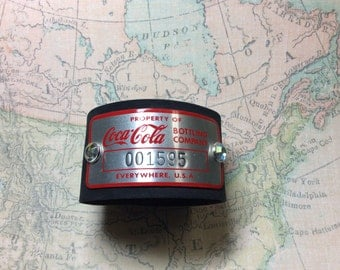 Real Steampunk handmade leather cuff and vintage coke tag - Mechanical Romance -
