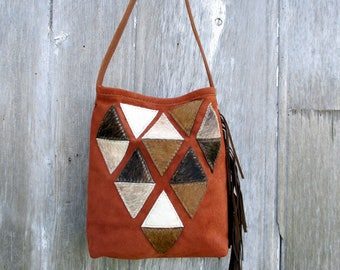 Geometric Triangle Suede Leather Bucket Bag by Stacy Leigh in Rusty Copper