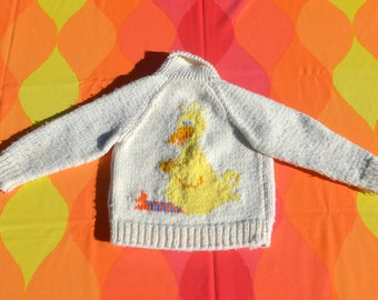 70s vintage kid's cowichan sweater BIG BIRD sesame street handknit shawl cardigan jacket children's Small Medium
