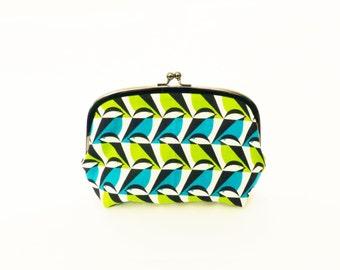 Cosmetic bag, geometric chickadee bird fabric, cotton pouch