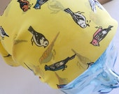 Chiffon Head Scarf - Georgette Lemon Yellow Hair Tie with Woodland Birds - Rockabilly Retro Neck Tie Accessories