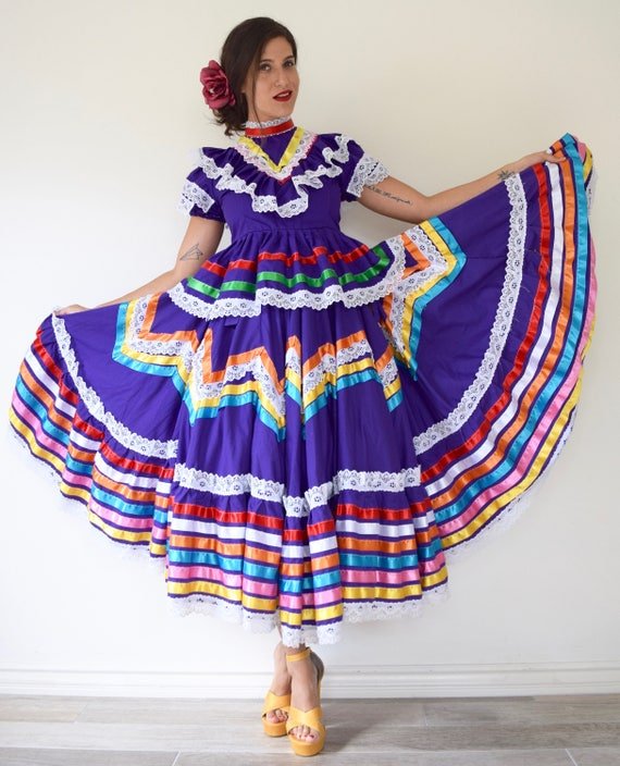 Vintage 50s Style Des Colores Mexican Purple Cotton Rainbow Ribbon Trimmed Full Circle Skirt with Matching Peplum Blouse (size M/L)