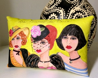 WOMEN OF PARIS pillow, hand painted, Paris, Edith Piaf, mustard, French women, rhinestones, Paris women, Francophone gift, gift for her