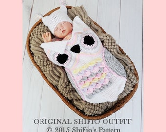 Original Handmade Crochet Owl Cocoon 0-3 months- ShiFio's Patterns Outfit (doll not included)