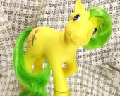 Vintage My Little Pony Magic Star MLP Rare G1 1984 Yellow Body Green Hair Magic Wand Symbol - UK Europe Exclusive - Non So Soft - NSS