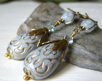 Pale Blue Teardrop Earrings, Lucite Earrings Brass, Etched Lucite Teardrop Dangle Earrings, Vintage Inspired Earrings, Powder Blue Earrings