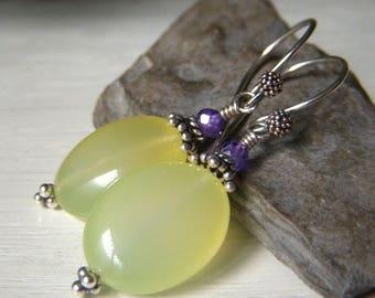 Pale Yellow Earrings, Pastel Spring Earrings, Yellow Chalcedony Earrings Sterling Silver, Opal Lemon Oval Gemstone Dangle