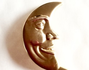 Art nouveau style moon brooch pin, man in the moon raw brass vintage finding