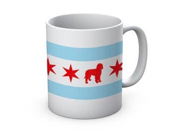 Chicago Flag Doodle Ceramic Mug  - Chicago Coffee Mug - Labradoodle Mug - Goldendoodle Mug - Coffee Cup - Gift for dog Lovers