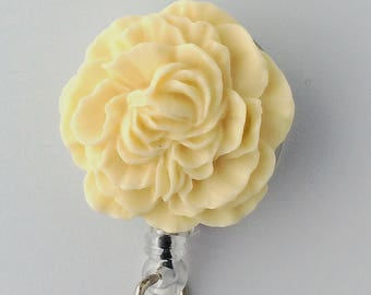 ID Badge Reel Ivory Cream Flower - Peony - Resin Flower Cabochon on Retractable Badge Holder 336