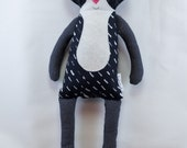 SALE-Black and White Cat Doll- Cat- Doll- Cloth Doll- Fabric Doll- Boys Doll- Baby's First Doll- Baby Gift- Nursery Decor- Girls Room Decor