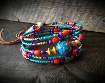 Boho, Gypsy, African Beads, Peru Beads, Glass, Bangle, Memory Wire, Wrap, Beaded Tribal Charm Bracelet