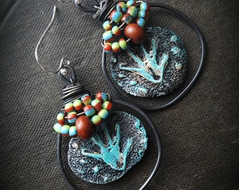 Hands, Hand Print, Ceramic, Rustic, Petroglyph, Tribal, Primitive, Wire Wrapped, Glass, Copper Hoops, Organic, Beaded Earrings