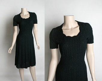 Vintage Black Knit Dress - 1940s Style Form Fitting Stretchy Boucle Knit Dress - Scallop Neckline - Small